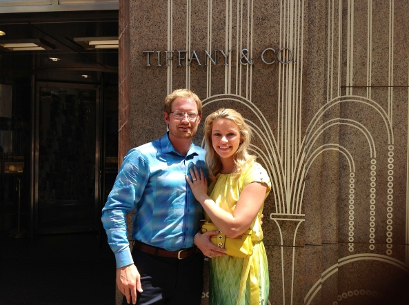 Taken by the doorman at Tiffany's after the Surprise Proposal.